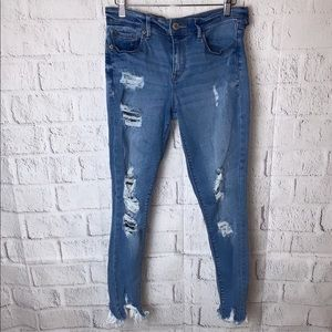 Express Light Wash Distressed Ankle Jeggings